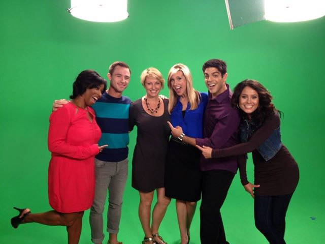 Angela Waters (center) with the cast of Right This Minute, Season 3